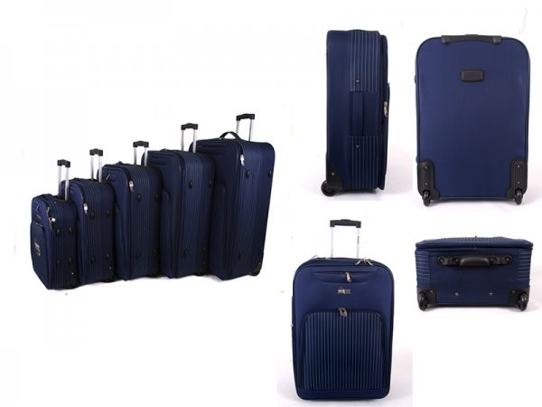 EV-421 NAVY SET OF FIVE TRAVEL TROLLEY WITH TWO WHEELS