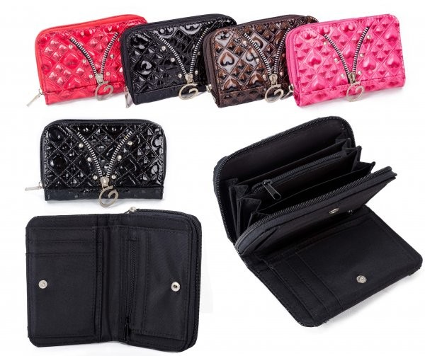 PU-30 BLACK PU PURSE W/ CONCERTINA ZIP