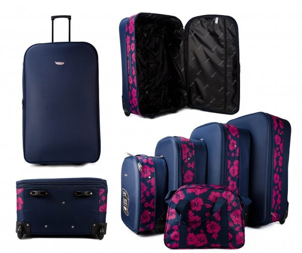 JB10080 NAVY CASE PINK FLOWERS 4 SUITCASES AND HOLDALL