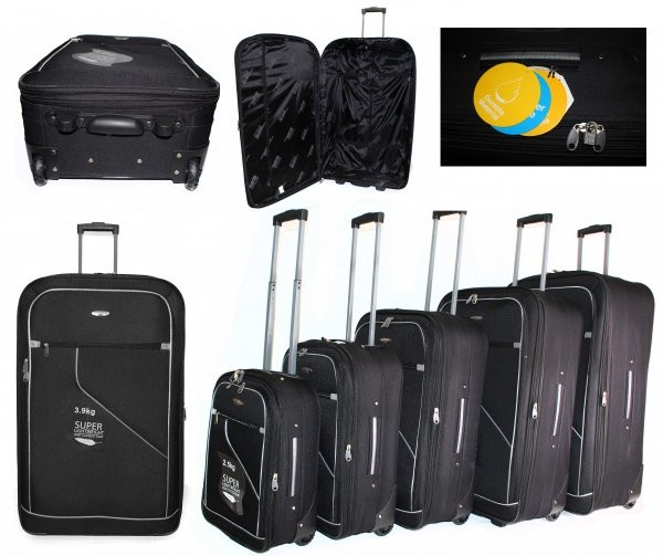 JB2006 BLACK GREY 5 SUITCASES