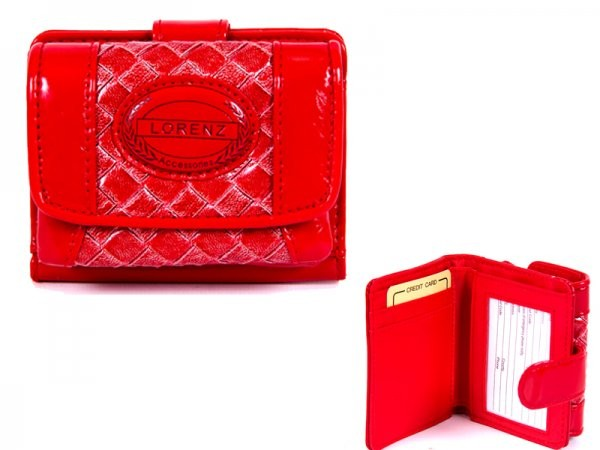 7437 RED PATENT INTERWEAVE PVC PERSE WITH WALLET SEC