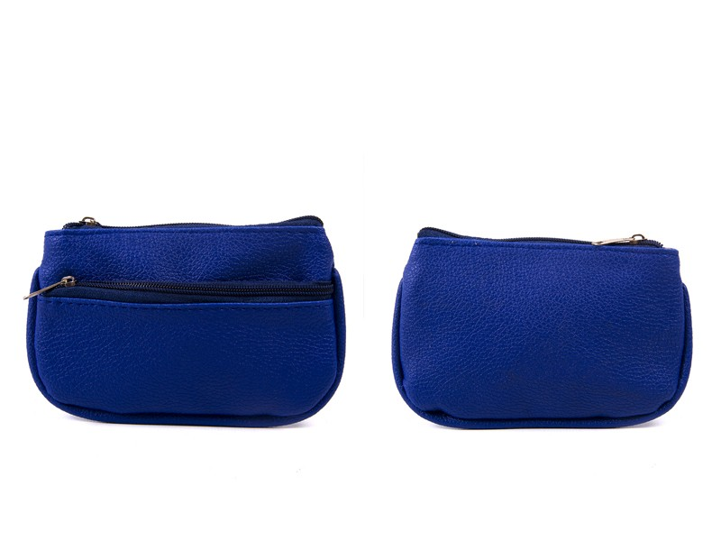 1505 NAVY TOP & FRONT ZIP GRAINED PU COIN PURSE