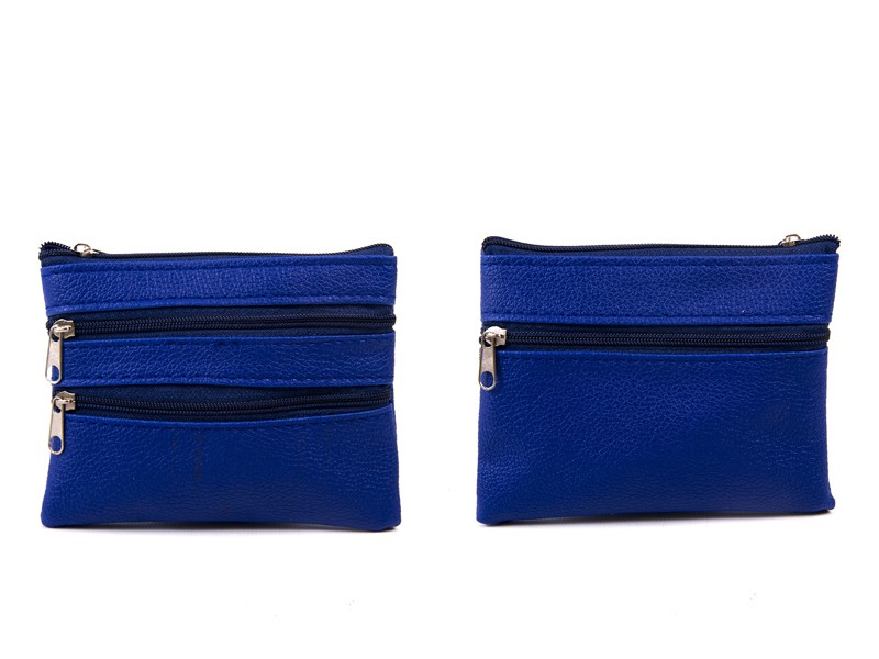 1506 NAVY Grained PU Purse with 4 Zips & Keyring