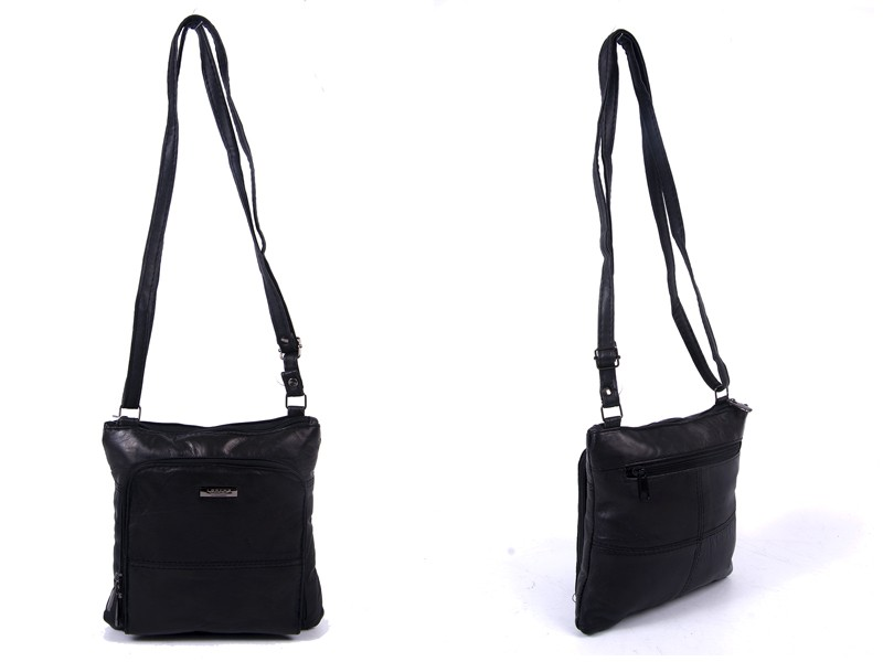 1902 BLACK X-BDY S.NAPPA BAG, TOP ZIP, FRNT ZIP RND P