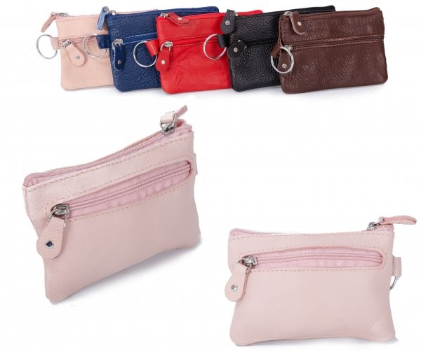 CPDM-54 PINK LEATHER COIN PURSE W/KEYRING