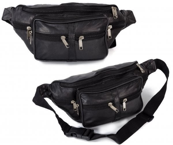 1445 BLACK REAL LEATHER BUMBAG W/6 ZIPS