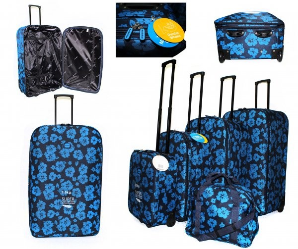 JB10080 BLUE FLOWER PRINT 4 SUITCASES AND HOLDALL