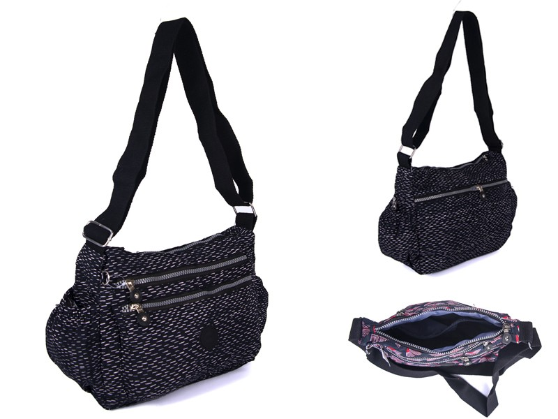 2502 BLK FLECKS Lorenz shoulder bag with 4 zips