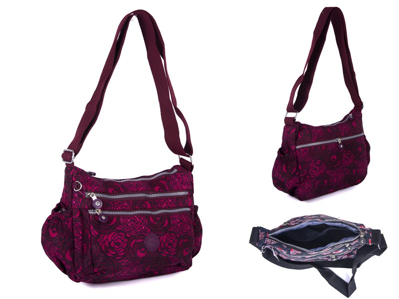 2502 PINK FLOWER Lorenz shoulder bag with 4 zips