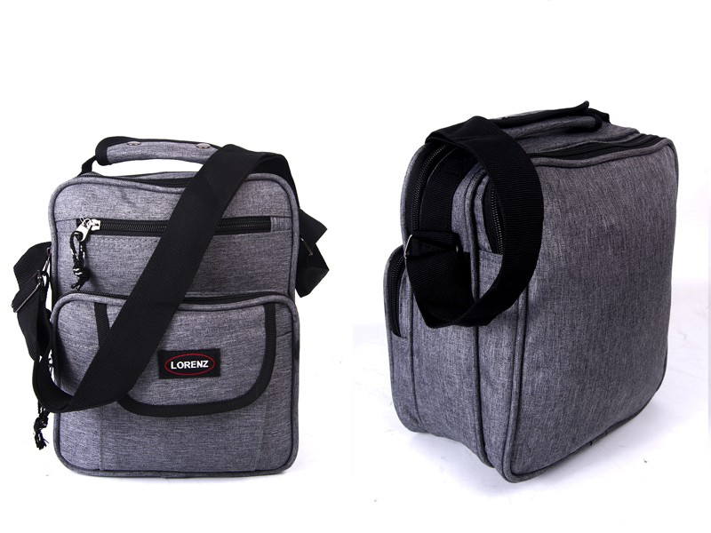 2515 GREY shoulder bag with 4 zips  adj strap