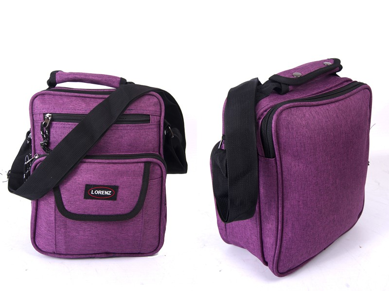 2515 PURPLE shoulder bag with 4 zips  adj strap