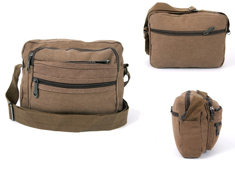 2558 BROWN CANVAS XBODY BAG WITH 5 ZIPS