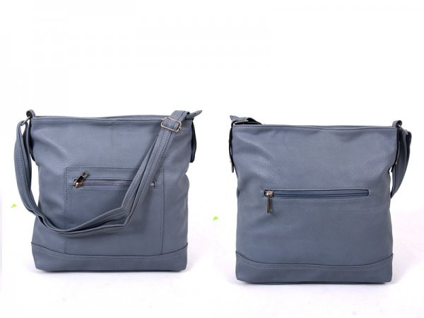 JBFB161-A AIRFORCE BLUE PU SHOULDER BAG WTH 3 ZIPS DOT LINING