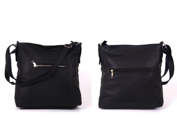 JBFB161-A BLACK PU SHOULDER BAG WTH 3 ZIPS DOT LINING