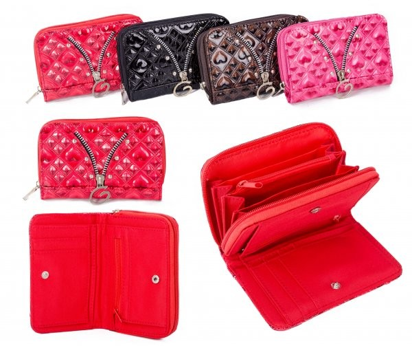 PU-30 RED PU PURSE W/ CONCERTINA ZIP