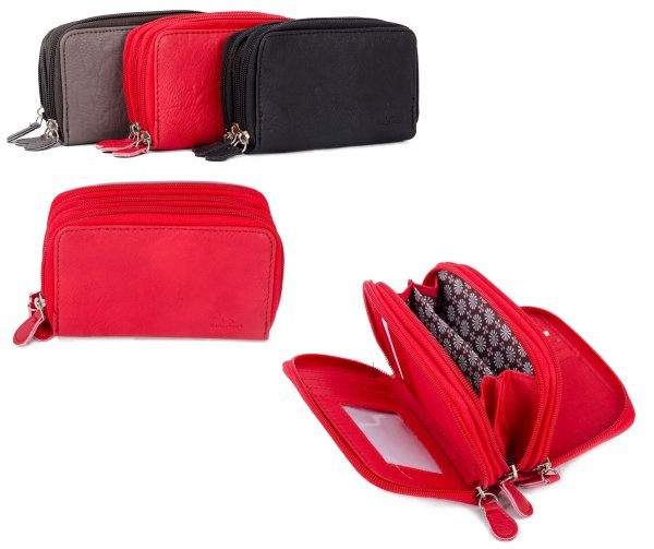 JBPS119 RED TRI SECTION PU PURSE