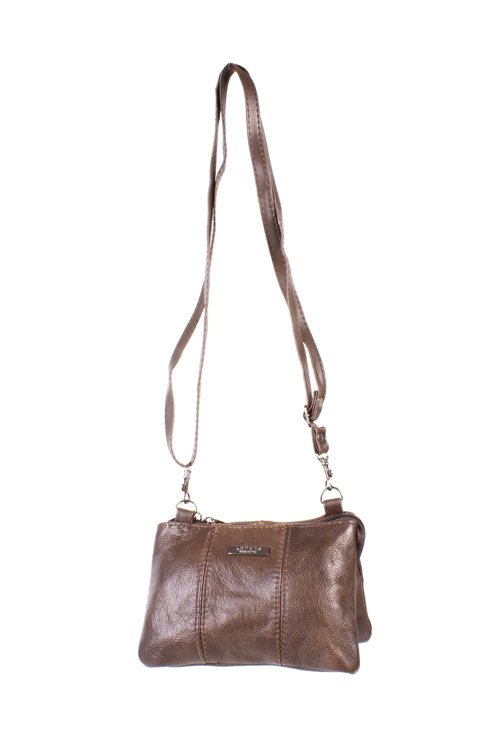3762 BROWN COW HIDE ZIP BAG
