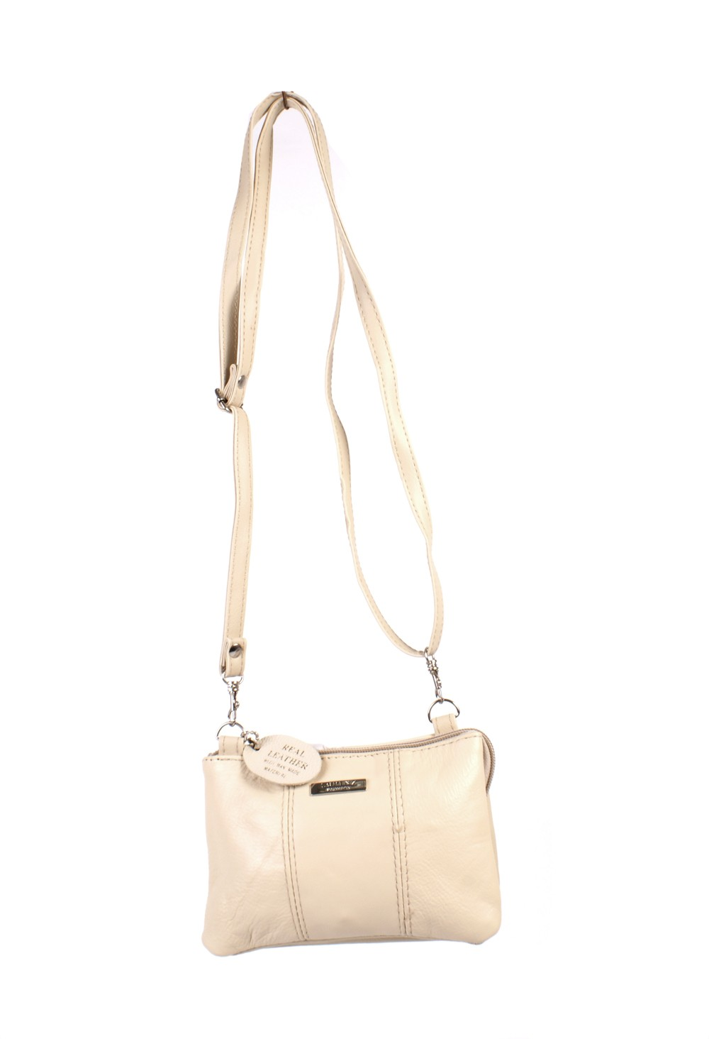 3762 CREAM COW HIDE ZIP BAG