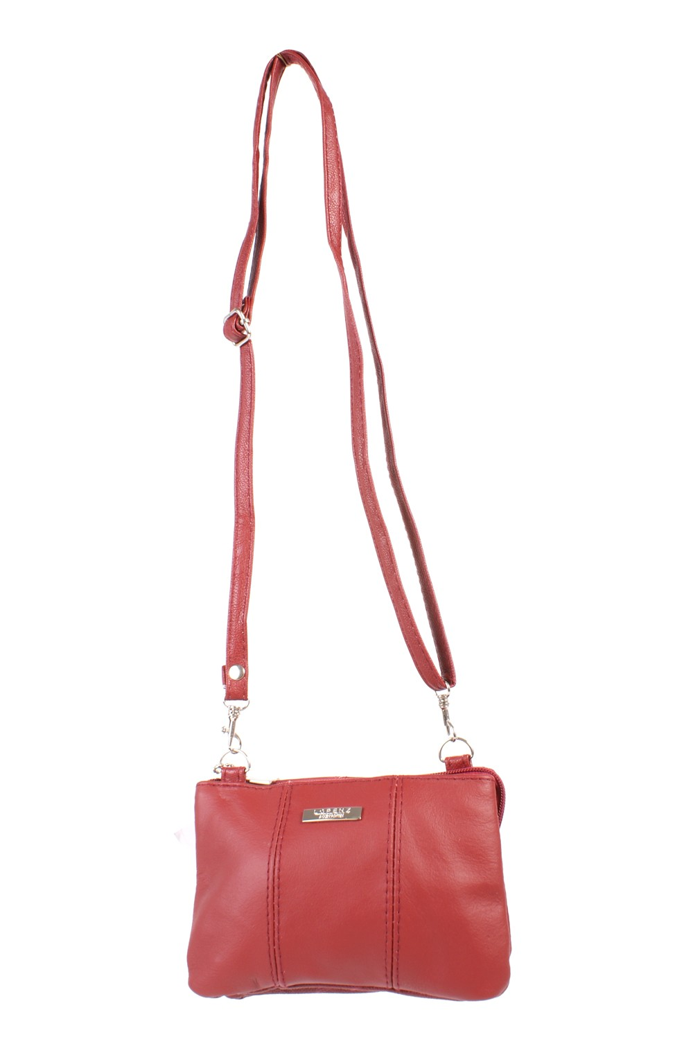 3762 RED COW HIDE ZIP BAG