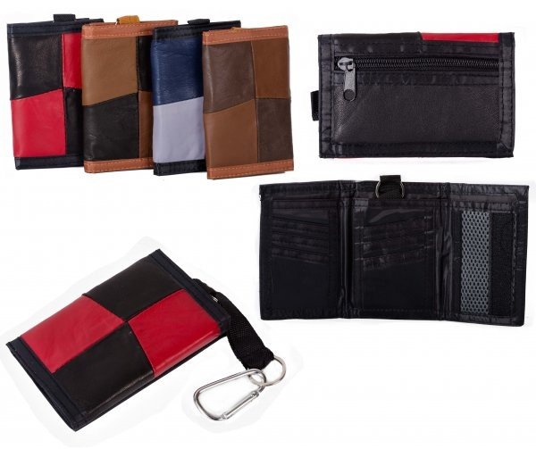 1895 RED MULTI S.NAPPA TRIFOLD WALLET WT ZIP AND BELT
