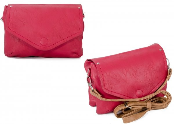 JBFB275 RASPBERRY PU CROSSBODY BAG W/ 2 COMPARTMENTS