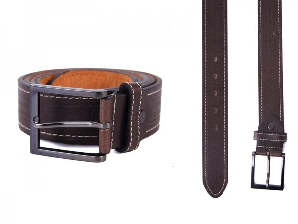 "2750 BROWN 1.5"" XL BELT WITH PATTERN&CONTRAST STITCH"