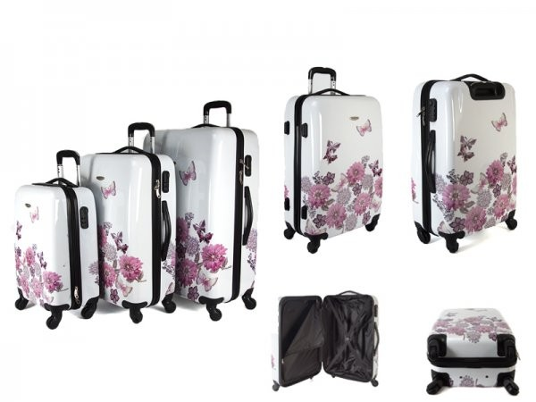 JB2027 WHITE JEWELLED GARDEN SET OF THREE TROLLEY CASE