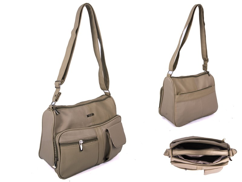 5869 TAUPE PU BAG WITH 5 ZIPS AND POP POCKET