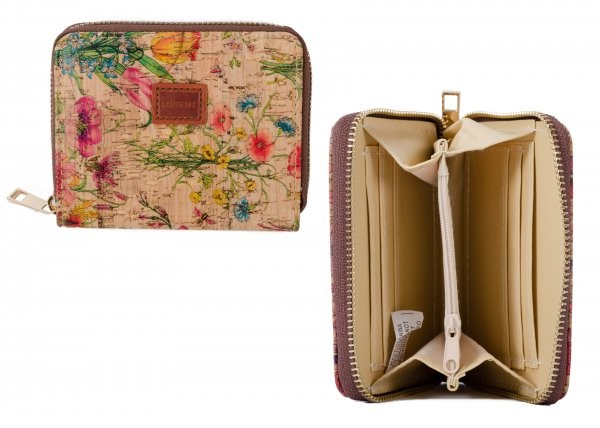 7202 RFID WILD FLOWERS ZIP ROUND PURSE