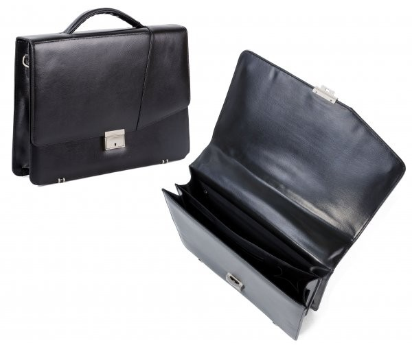 EX-75 BLACK LEATHER PLANET BRIEFCASE