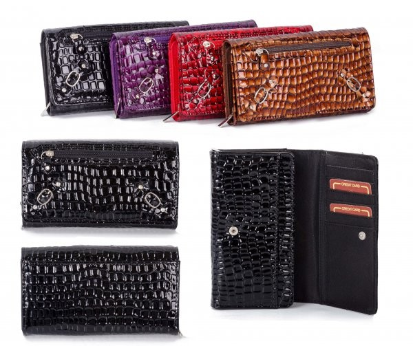 PU-22 BLACK CROC PU PURSE