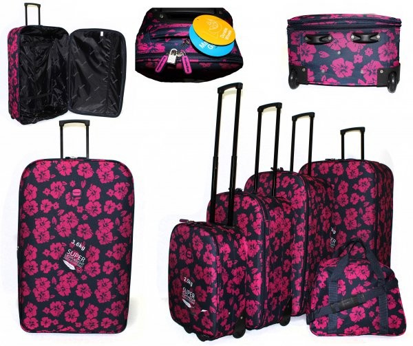 JB10080 PINK FLOWER PRINT 4 SUITCASES AND HOLDALL