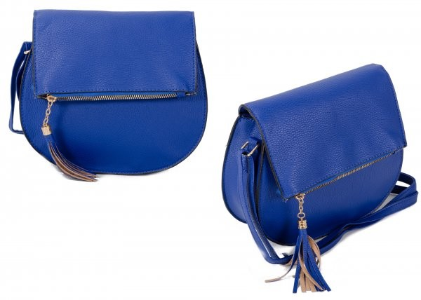 JBFB288 BLUE PU ROUND CROSSBAG W/ ZIP FLAP