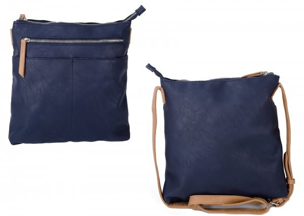 JBFB276 NAVY PU CROSSBAG W/ 2 ZIPS & FRONT POCKETS