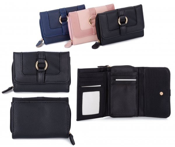 JBPS188 BLACK PU PURSE W/ CARD HOLDERS & COIN SECTION