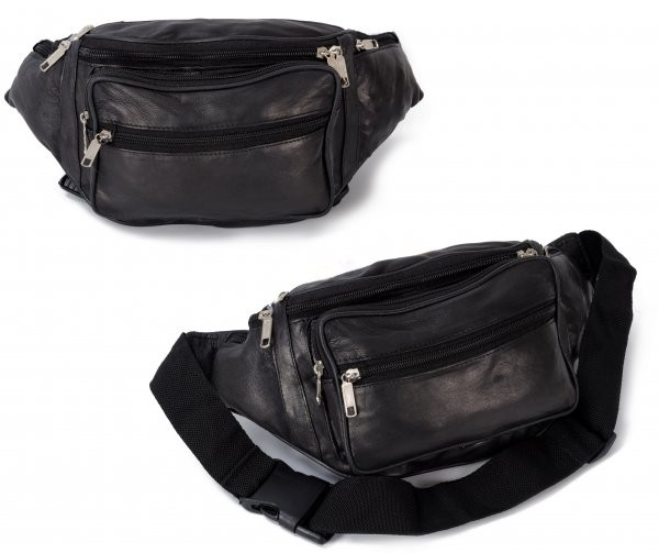 1446 BLACK REAL LEATHER BUMBAG W/7 ZIPS