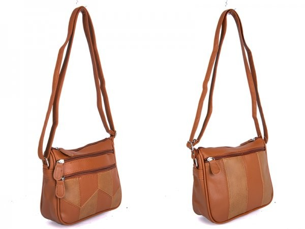 JBHB2557 TAN PATCHWORK XBDY WITH 4 ZIPS