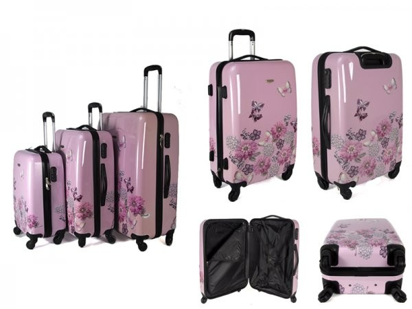 JB2027 PINK JEWELLED GARDEN SET OF THREE TROLLEY CASE
