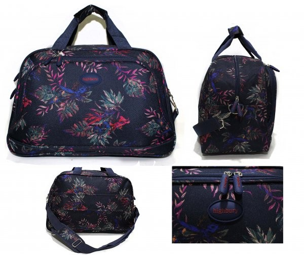 HBY-0078 NAVY FLORAL FLIGHT BAG