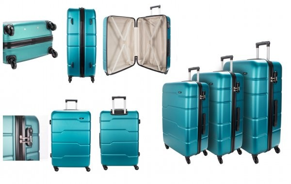 EV-425 4-WHEELED HARDCASE LUGGAGE SET OF 3 IN TEAL
