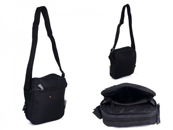 JCB20 BLACK X-BODY BAG WITH MESH BACK AND 4 ZIPS