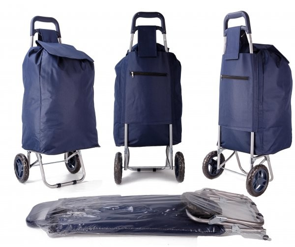 EV-432 NAVY SHOPPING TROLLEY W/ VELCRO AND STRING PULL