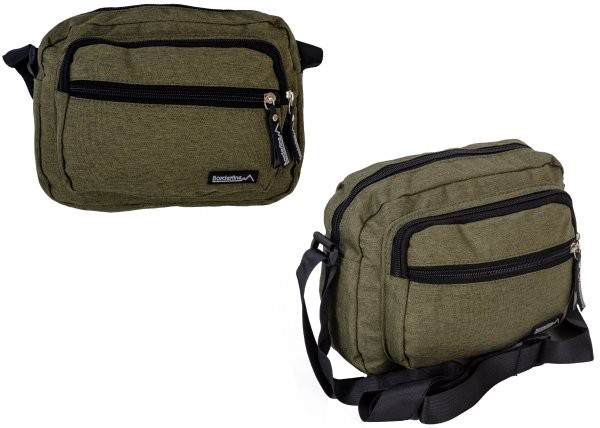 JBMB05 GREEN CROSSBAG W/ 3 ZIPS