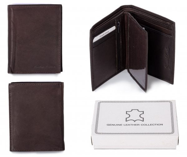 021RFID BROWN LONDON LEATHER WALLET W/ 2 CC FLAPS