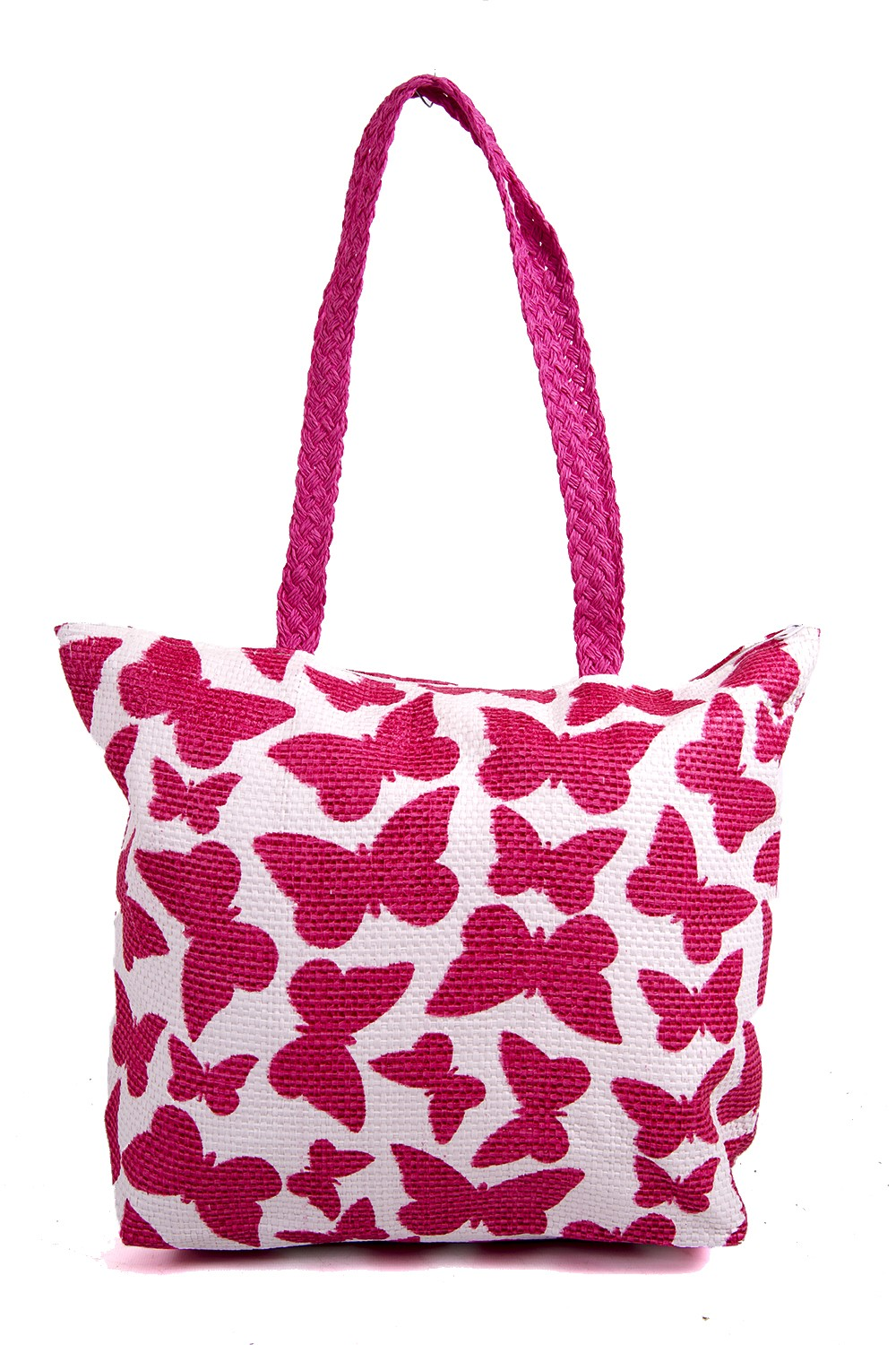 BB973 PINK SUM BAG WTH ROPE HANDLE WHITE BACK