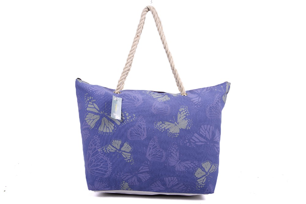 BB974 PURPLE SUM BAG WTH ROPE HANDLE WHITE BACK, BUT DETAIL