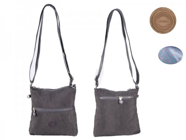 2527 GREY CRINKLED NYLON X-BDY TWIN TOP ZIP BAG WT FRNT