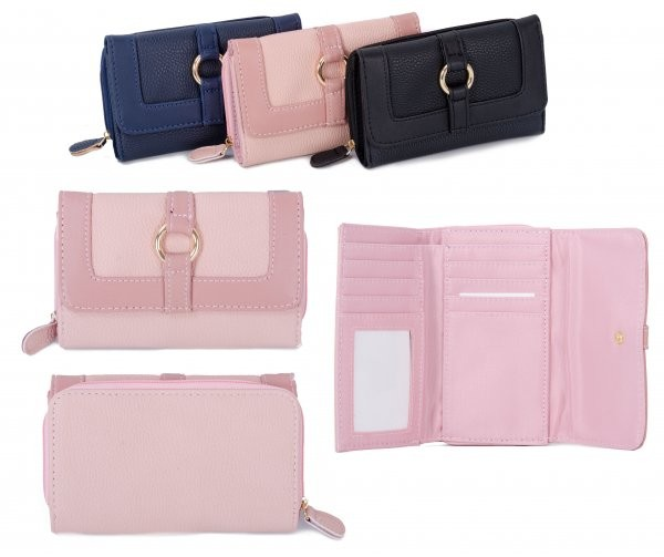 JBPS189 PINK PU PURSE W/ COIN SECTION