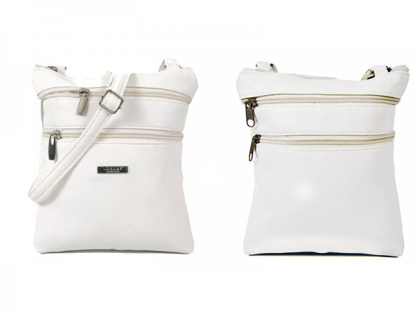 5894 WHITE LEATHER GRAN PU TOP ZIP BAG WITH 4 ZIPS