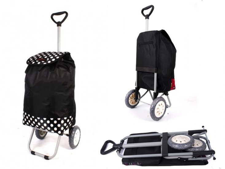 6957 BLACK & POLKA DOTS SHOPPING TROLLEY WITH ADJUSTABLE HANDLE